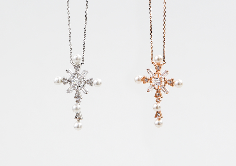 좋은옷 만드는 럭스위즈닷컴HN71AC_229  Cross  diamond & pearl deco  necklace